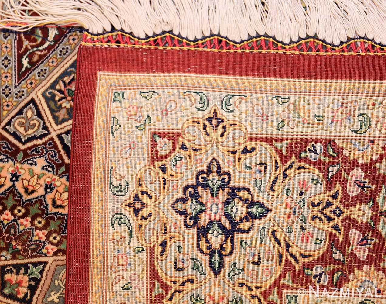 small size geometric modern persian silk qum rug 49421 weave Nazmiyal