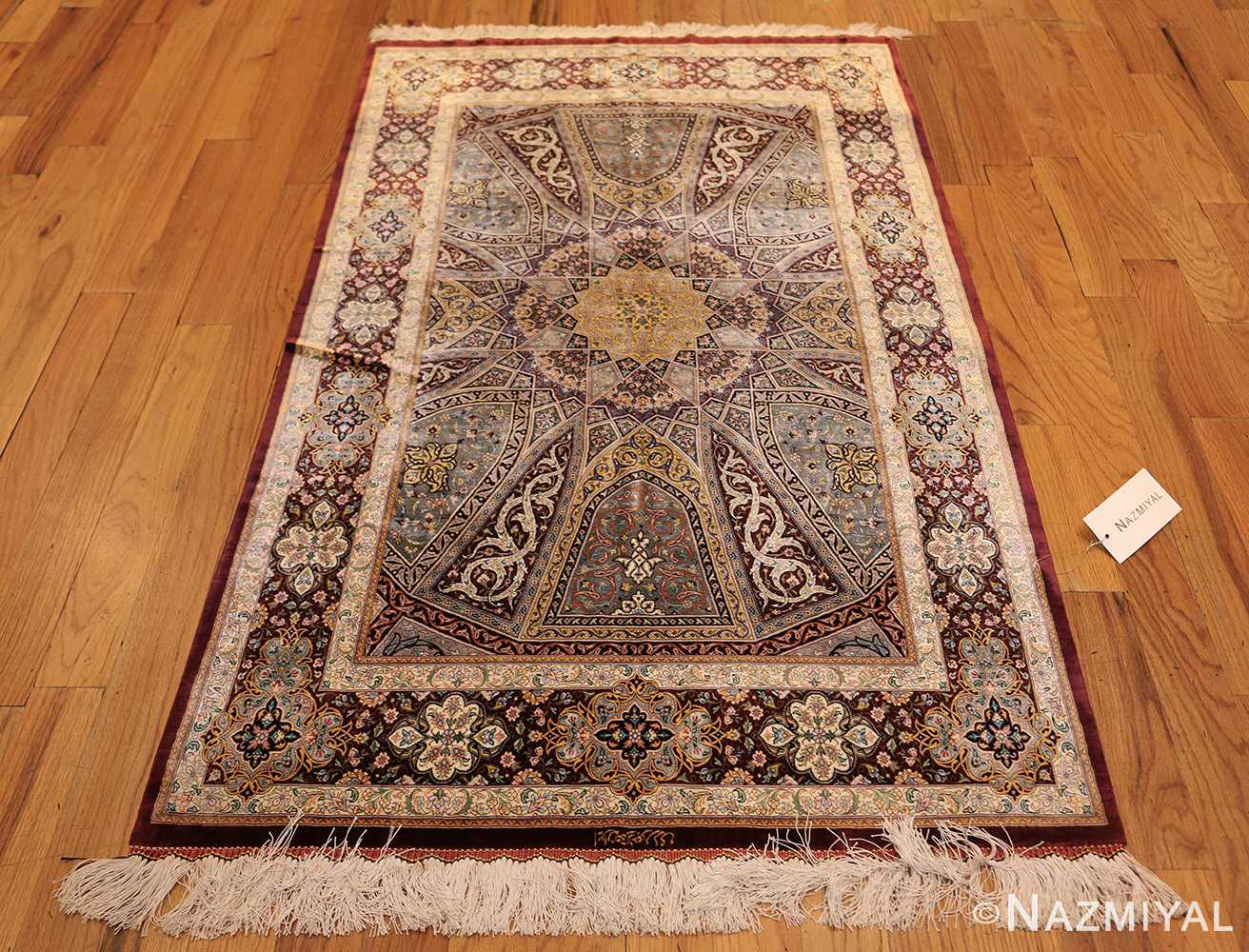 small size geometric modern persian silk qum rug 49421 whole Nazmiyal