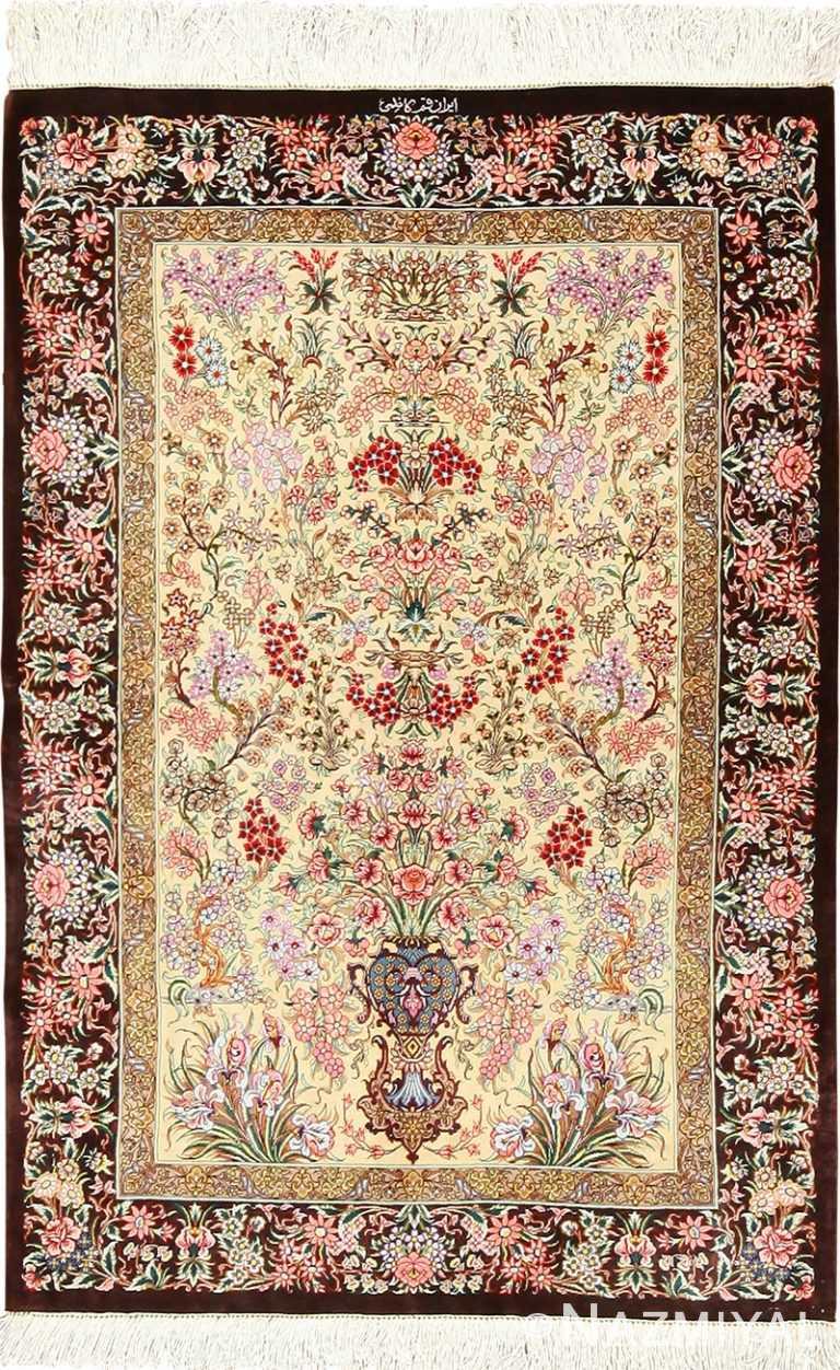 small size modern silk qum persian rug 49405 Nazmiyal