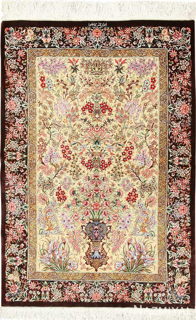 small size modern silk qum persian rug 49405 Nazmiyal