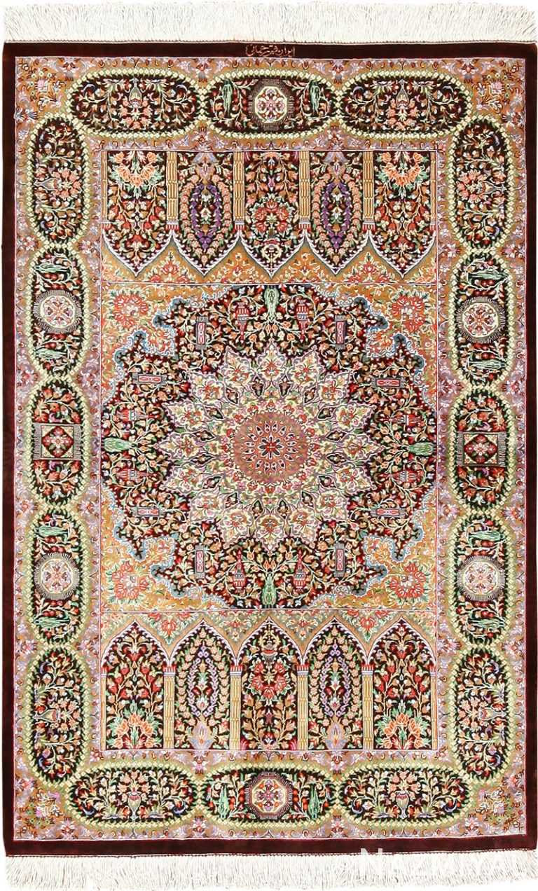 Small Scatter Size Floral Persian Silk Qum Rug #49409 by Nazmiyal Antique Rugs