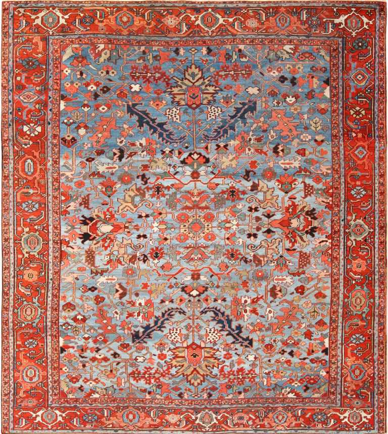 antique blue background heriz persian rug 49374 Nazmiyal