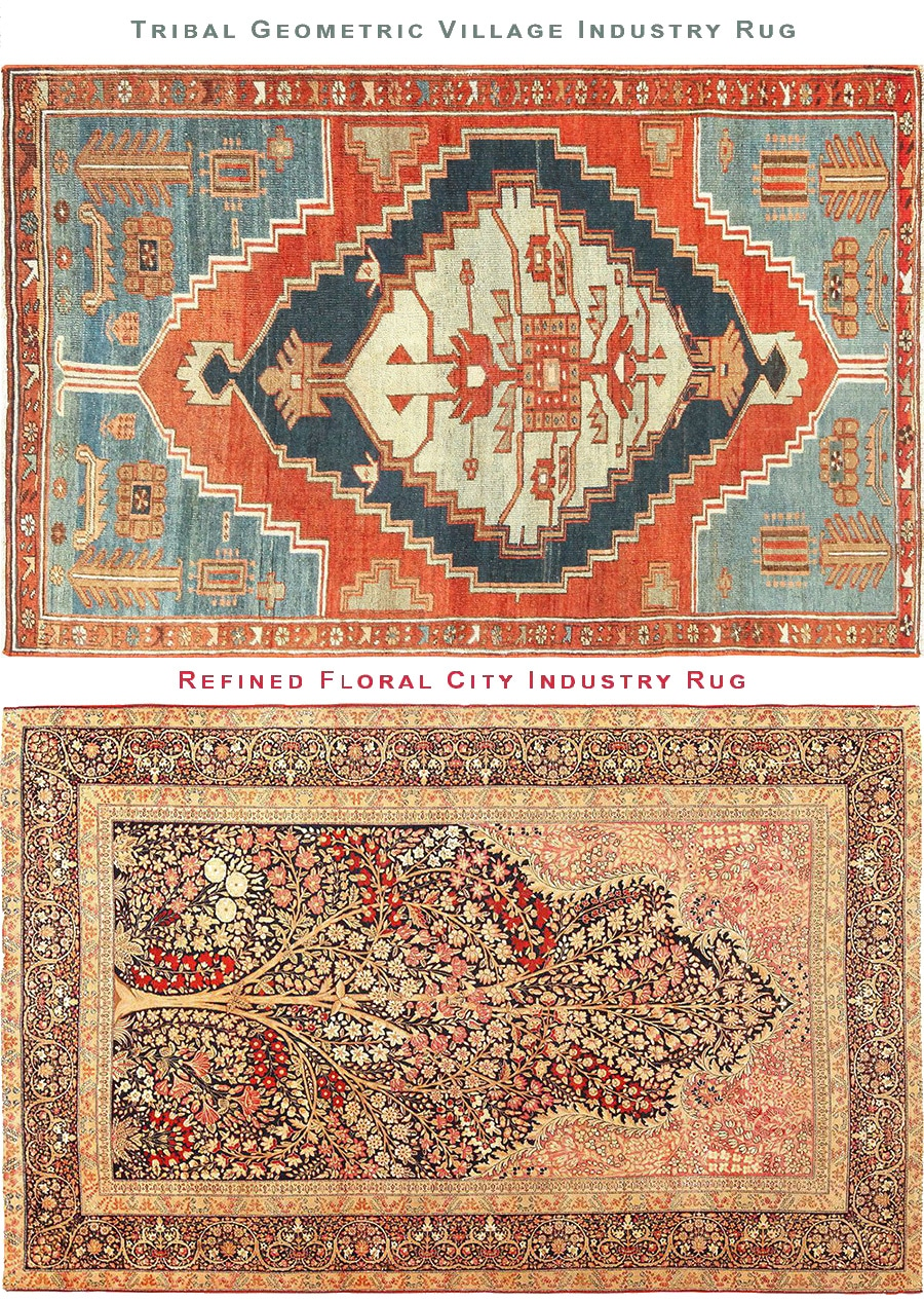 Geometric Tribal Village Rug Vs Floral City Made Persian Rug by Nazmiyal