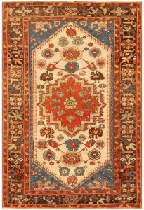 Tribal Small Antique Persian Bakshaish Rug by Nazmiyal