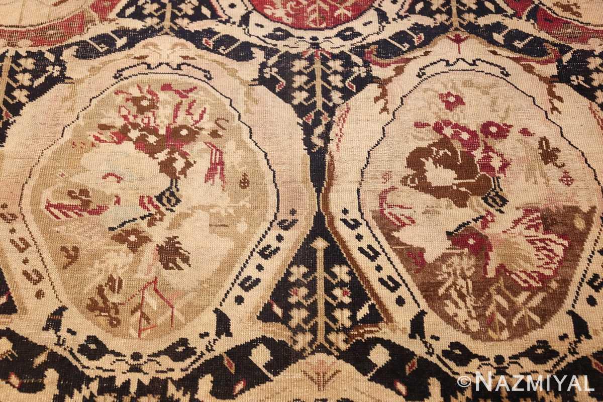 antique black karabagh caucasian rug 49314 cream Nazmiyal