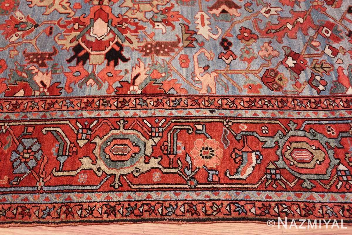 antique blue background heriz persian rug 49374 border Nazmiyal