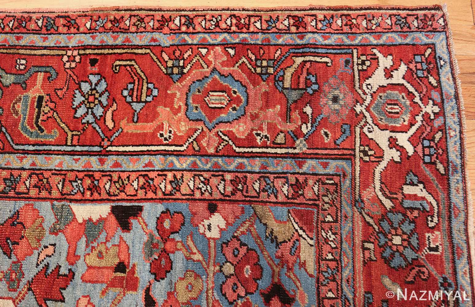 antique blue background heriz persian rug 49374 corner Nazmiyal