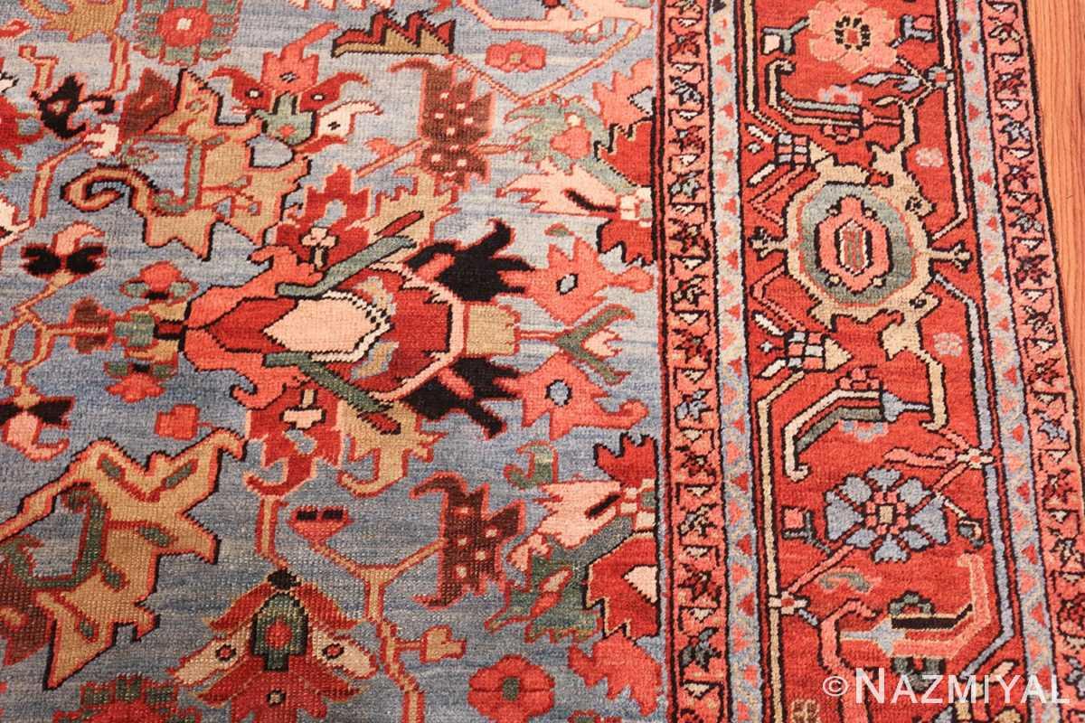 antique blue background heriz persian rug 49374 design Nazmiyal