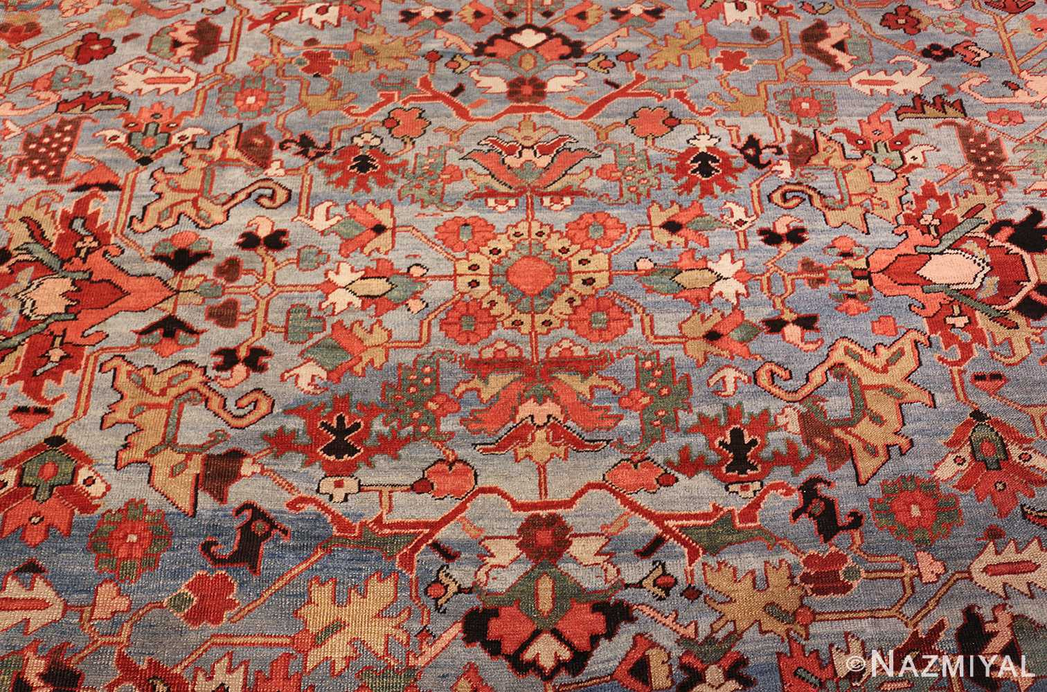 antique blue background heriz persian rug 49374 middle Nazmiyal