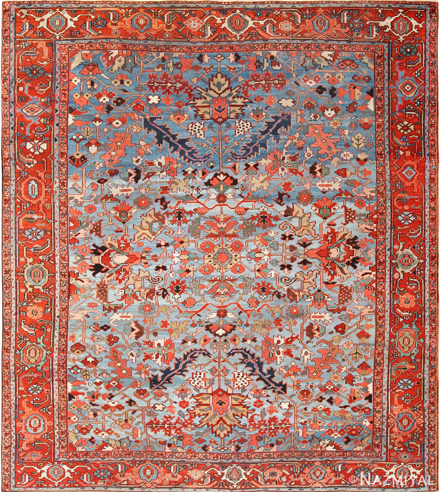 antique blue background heriz persian rug 49374 Nazmiyal