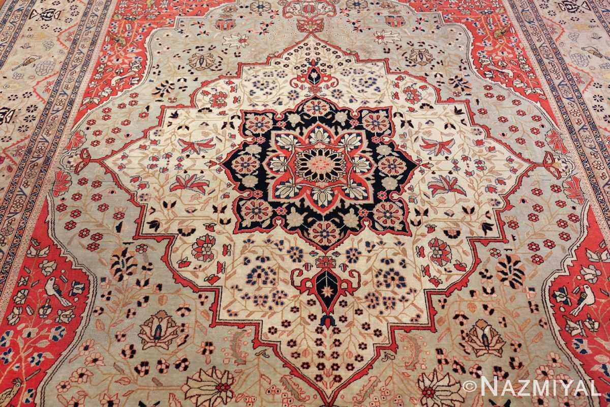 antique light blue mohtasham kashan persian rug 49452 field Nazmiyal