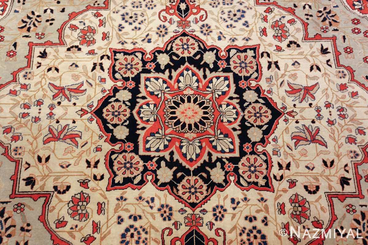 antique light blue mohtasham kashan persian rug 49452 medallion Nazmiyal