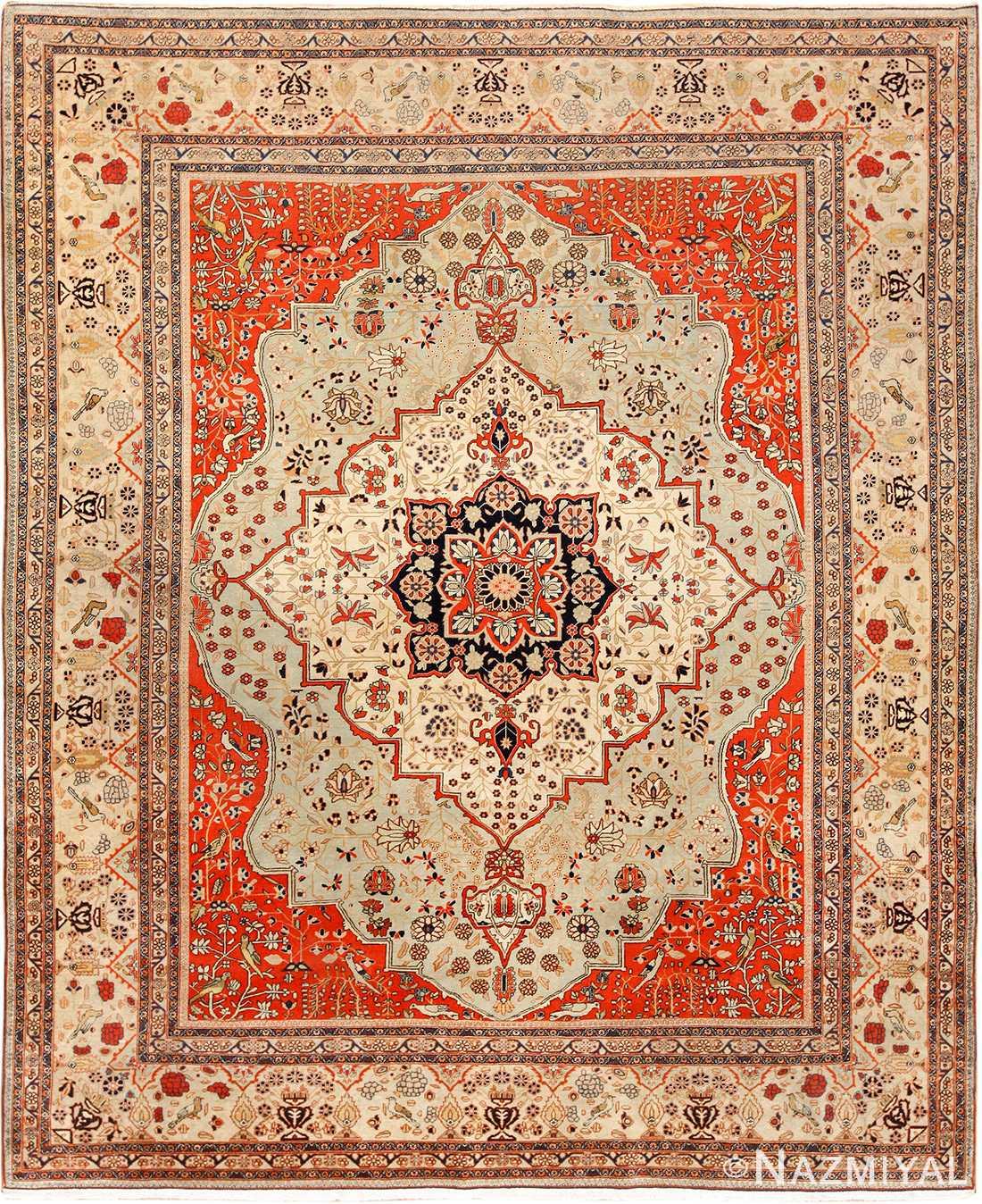 Antique Blue Persian Mohtasham Kashan Rug 49452 Nazmiyal Rugs