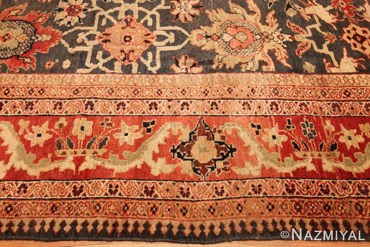 green background antique sultanabad persian rug 49389 border Nazmiyal