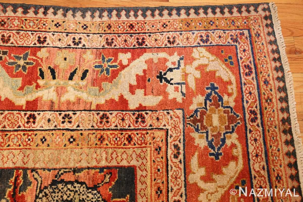 green background antique sultanabad persian rug 49389 corner Nazmiyal
