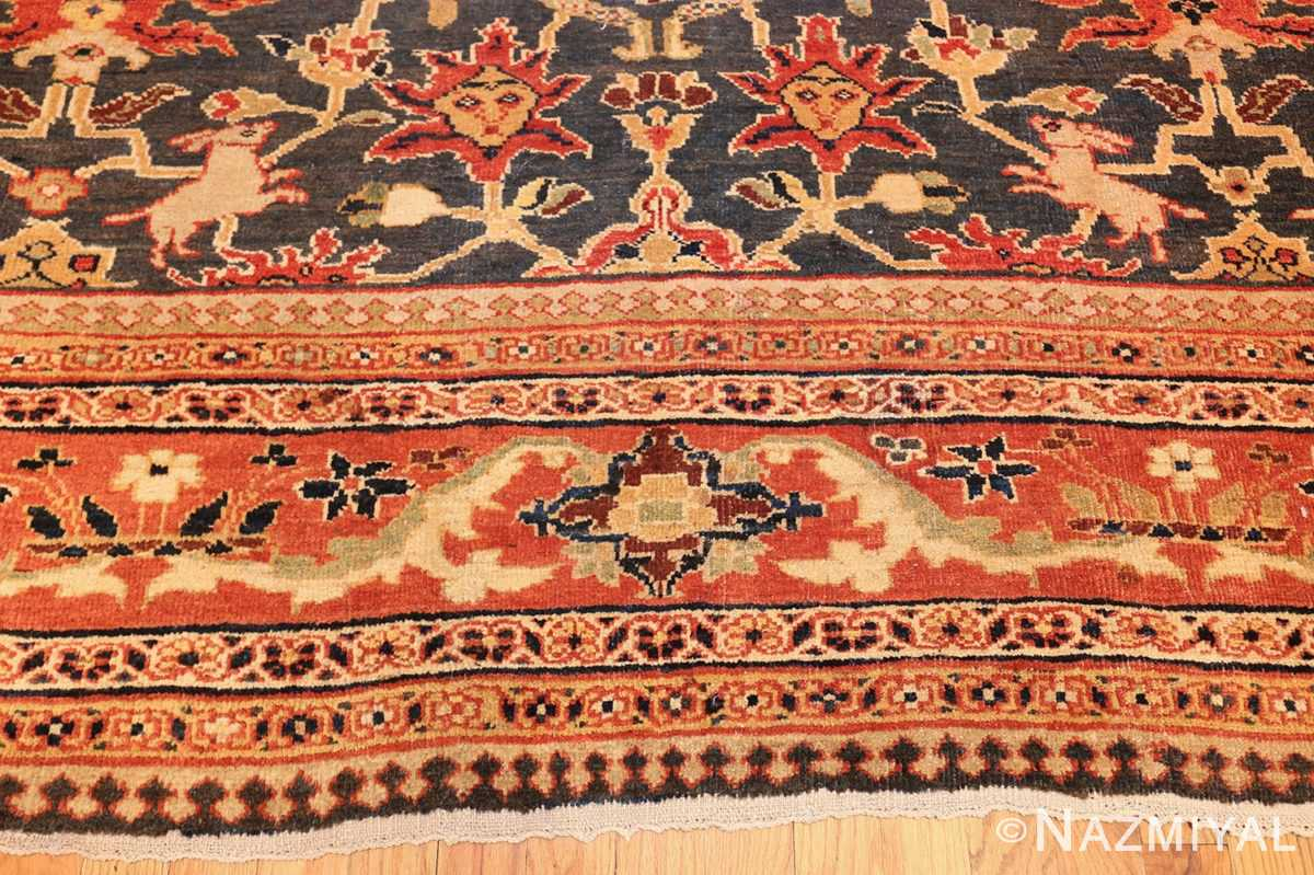 green background antique sultanabad persian rug 49389 down Nazmiyal