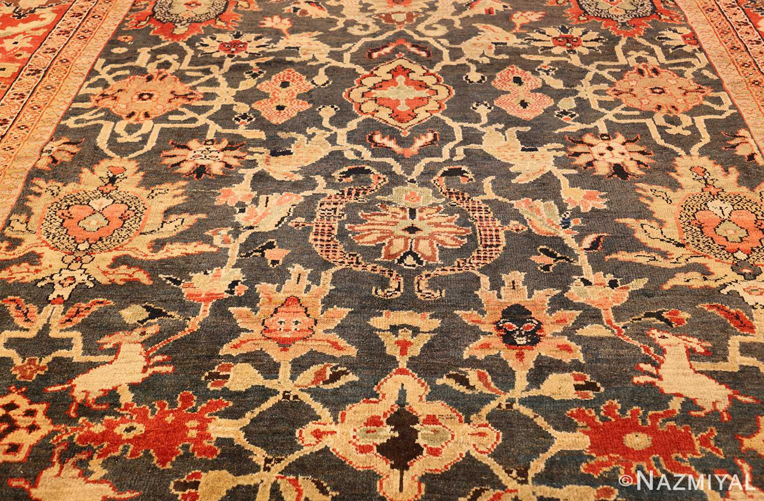 green background antique sultanabad persian rug 49389 field Nazmiyal