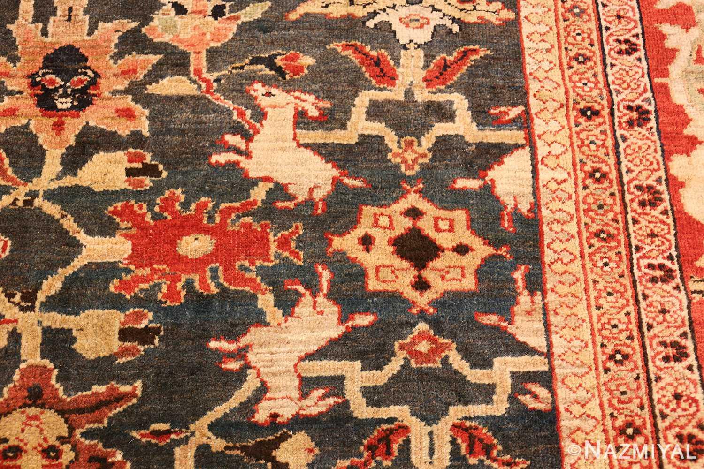 green background antique sultanabad persian rug 49389 rabbits Nazmiyal