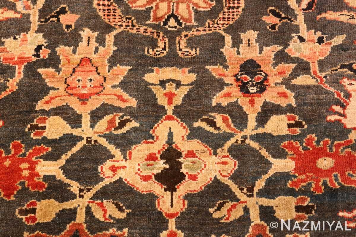 green background antique sultanabad persian rug 49389 sunflower Nazmiyal