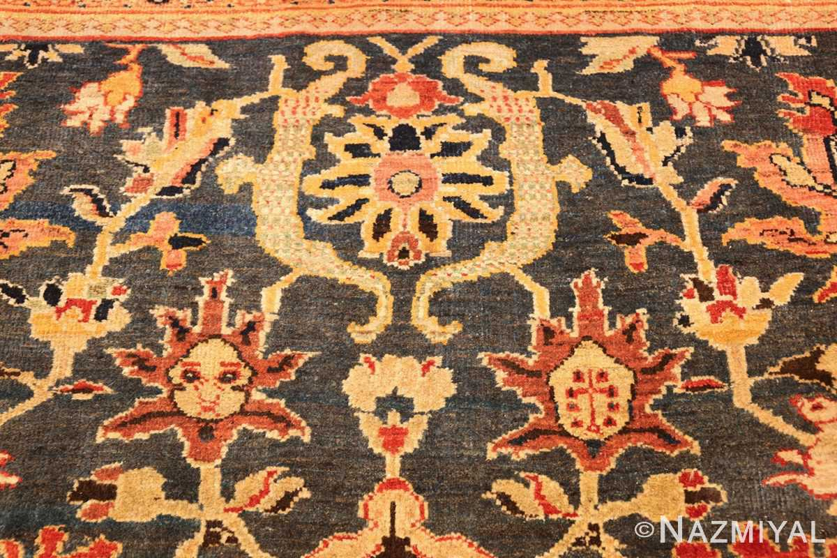 green background antique sultanabad persian rug 49389 top Nazmiyal