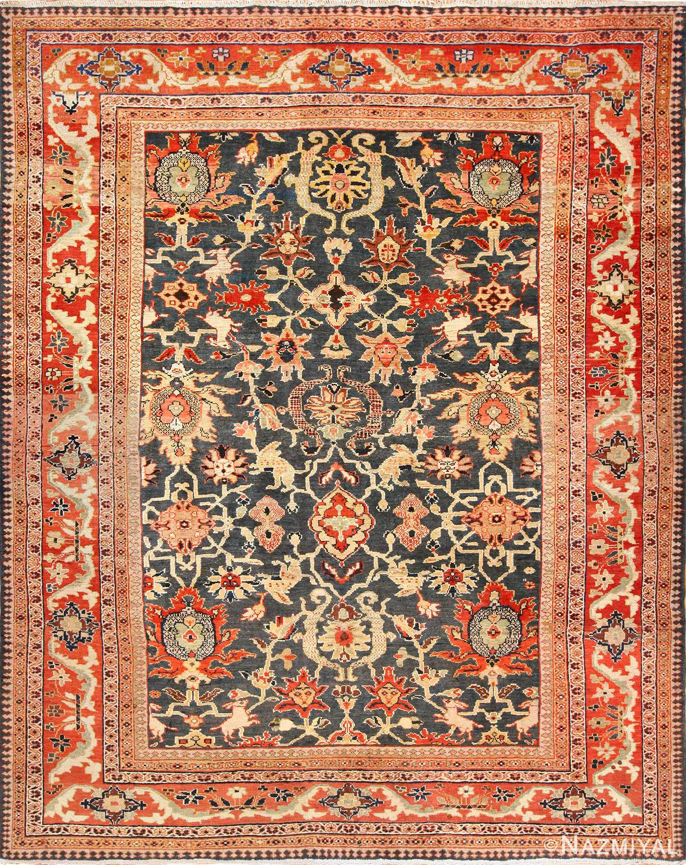 green background antique sultanabad persian rug 49389 Nazmiyal