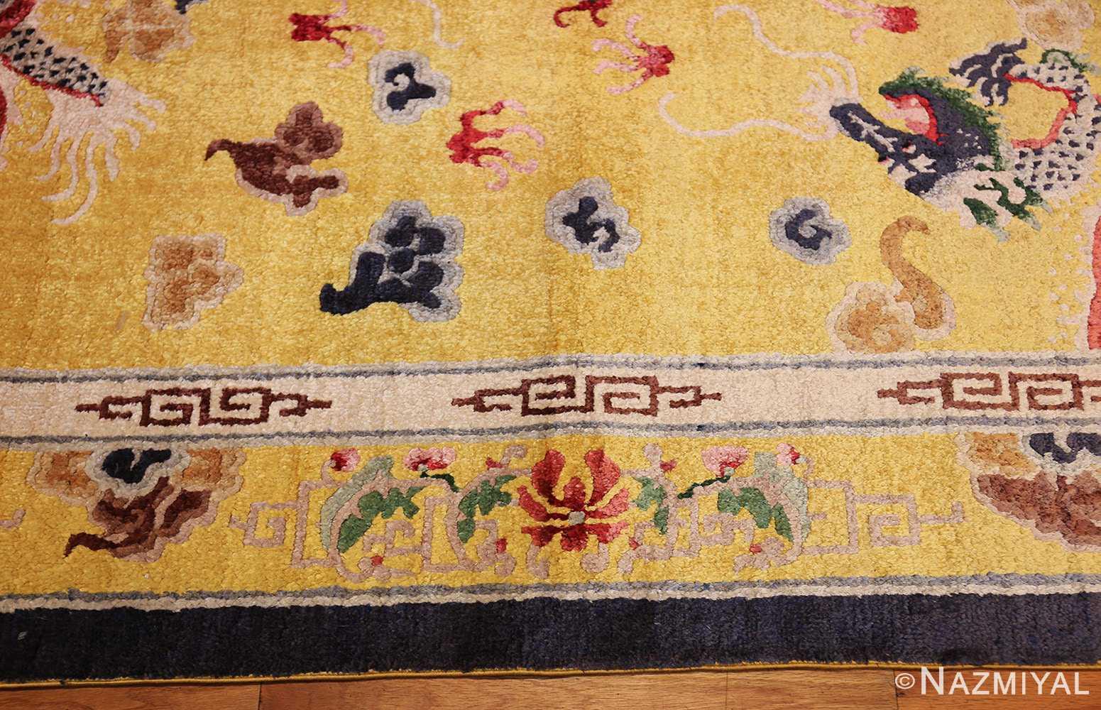 small size antique silk chinese rug 49455 border Nazmiyal