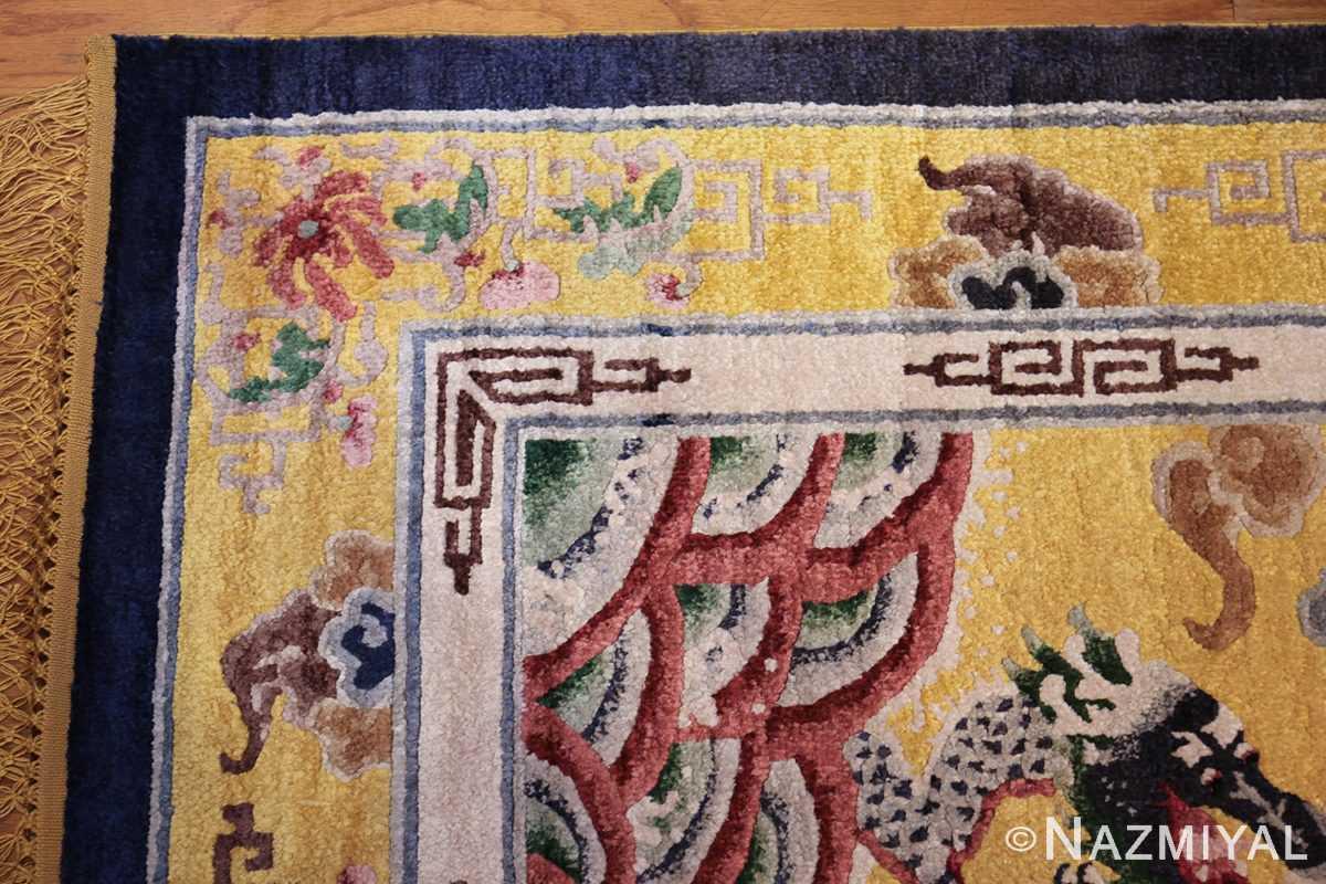 small size antique silk chinese rug 49455 corner Nazmiyal