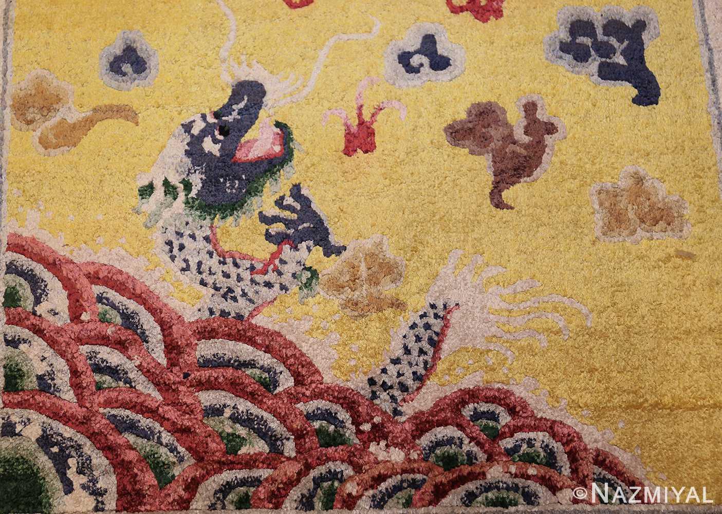 small size antique silk chinese rug 49455 dragon Nazmiyal