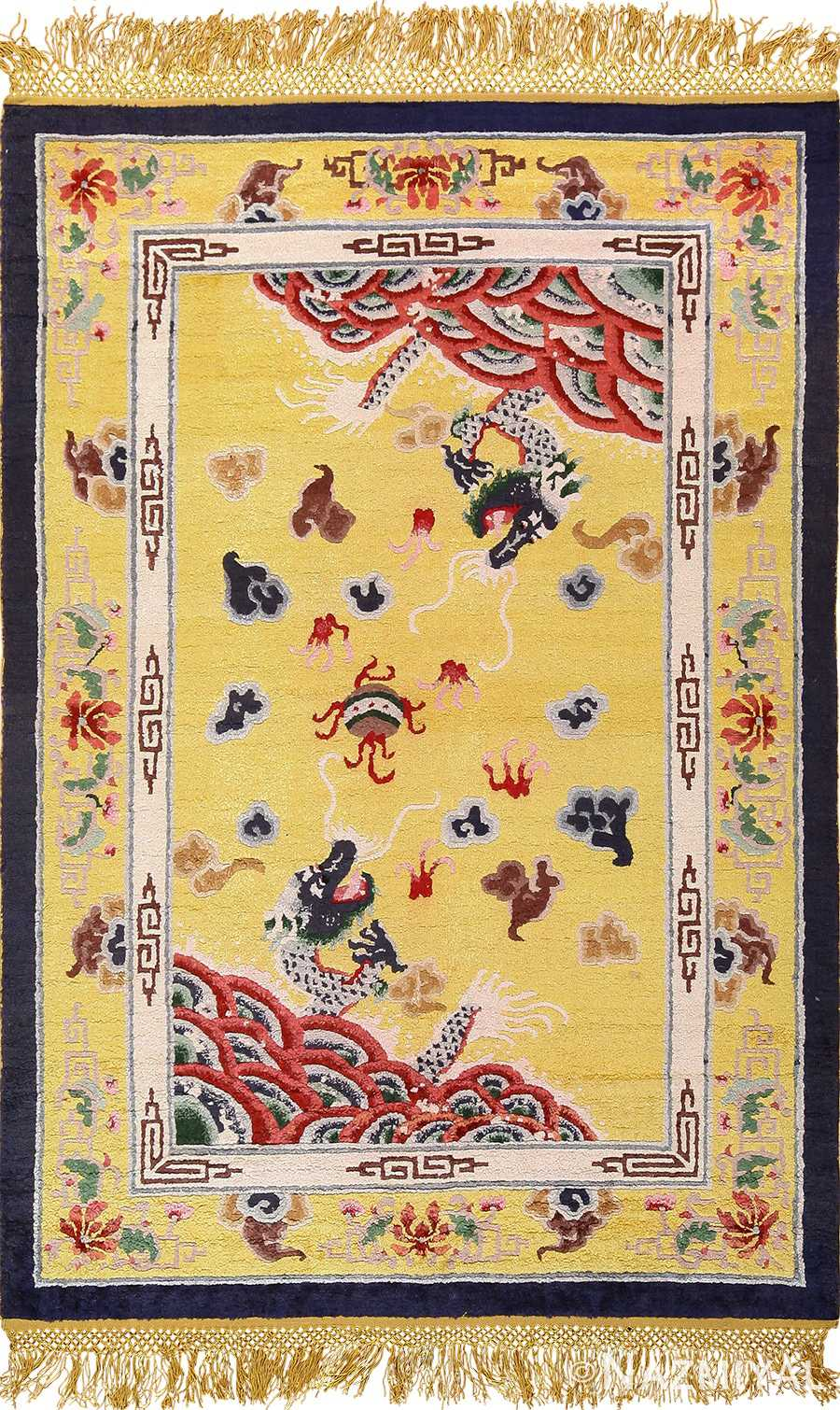 small size antique silk chinese rug 49455 Nazmiyal