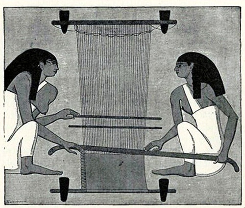 Two women weaving on a vertical loom by Nazmiyal