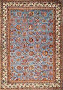 large blue antique agra indian rug 49048 Nazmiyal