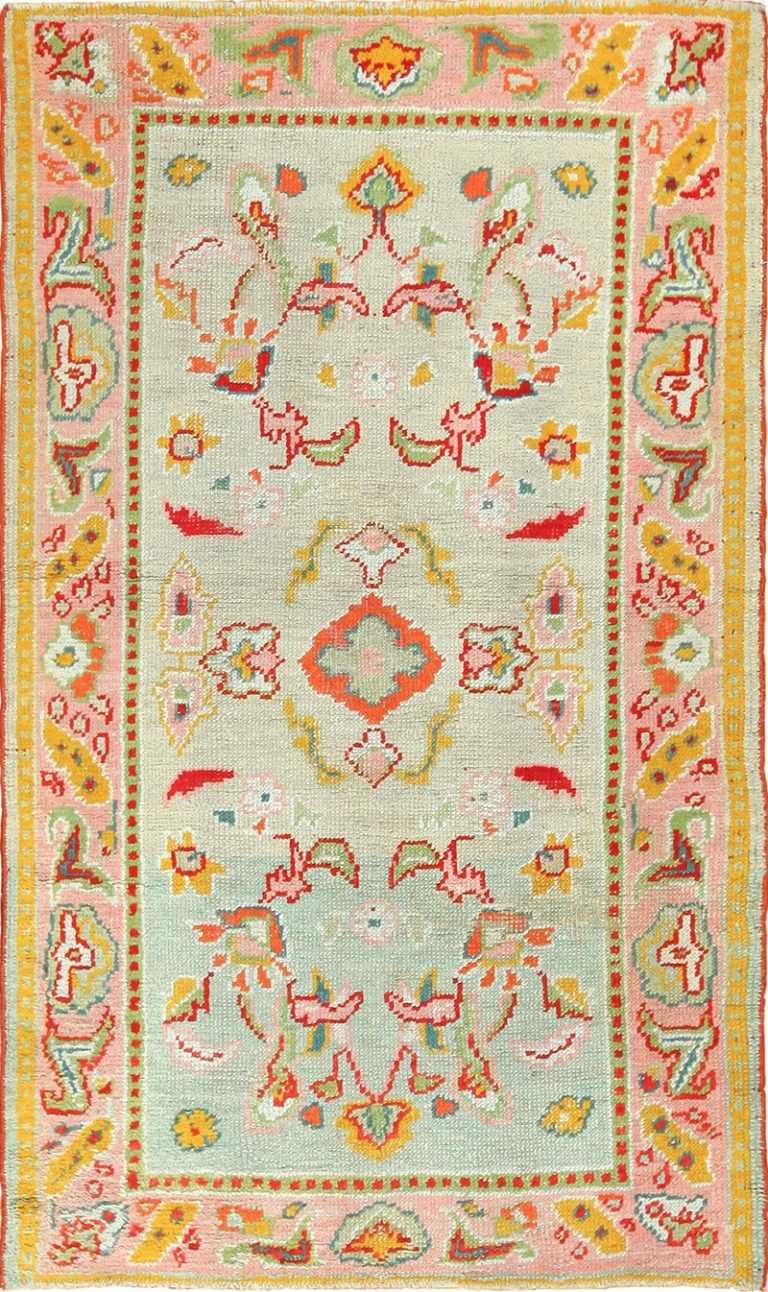 light blue antique oushak turkish rug 49459 Nazmiyal