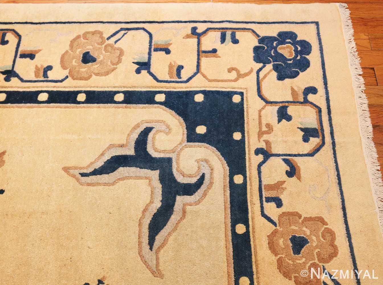 antique cream background chinese rug 49480 corner Nazmiyal
