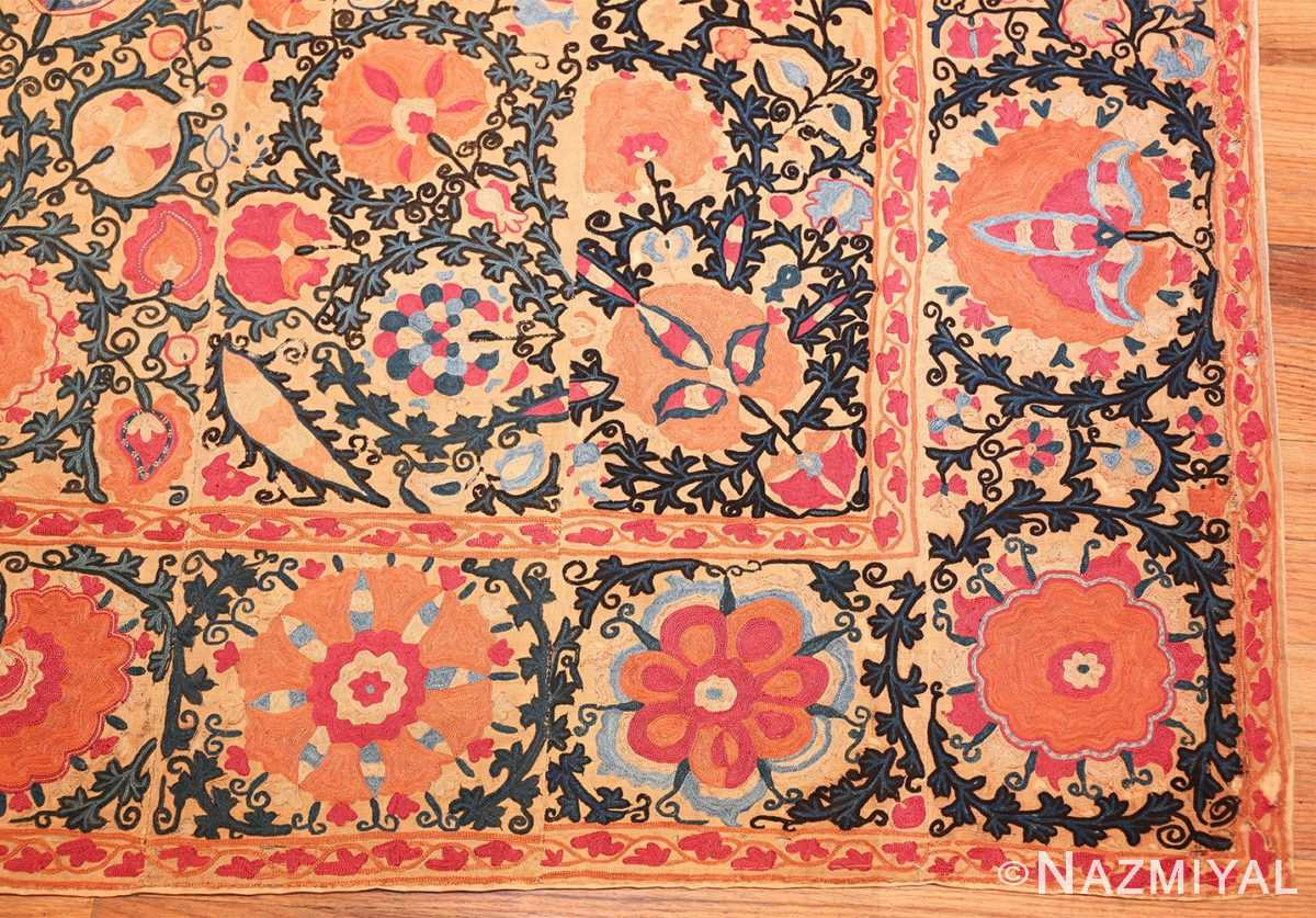 antique floral suzani uzbek textile 49460 corner Nazmiyal
