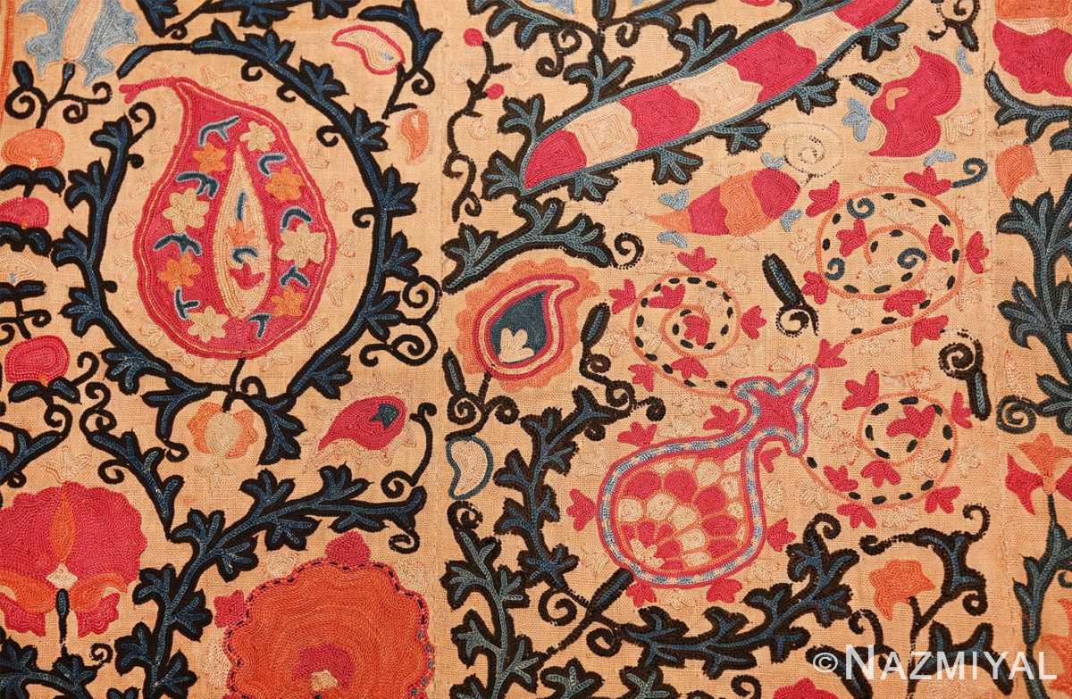 antique floral suzani uzbek textile 49460 details Nazmiyal