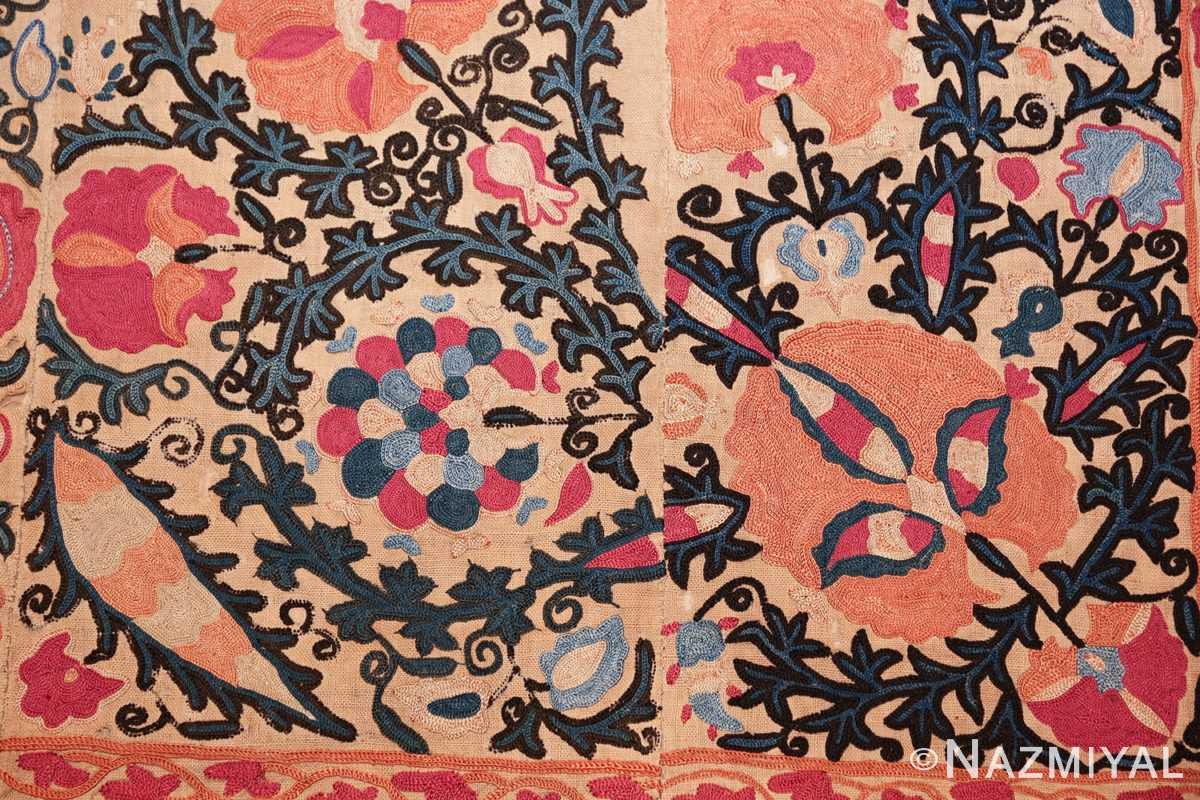 antique floral suzani uzbek textile 49460 down Nazmiyal
