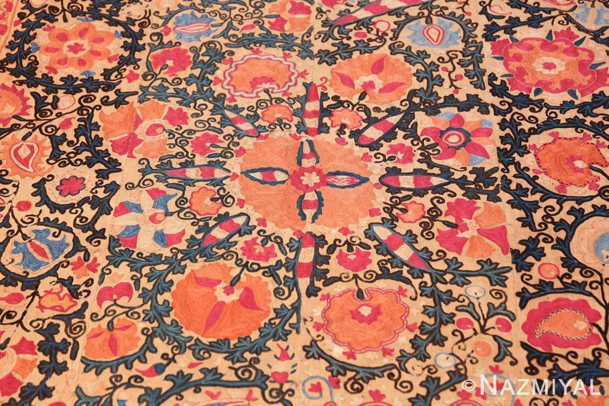antique floral suzani uzbek textile 49460 medallion Nazmiyal