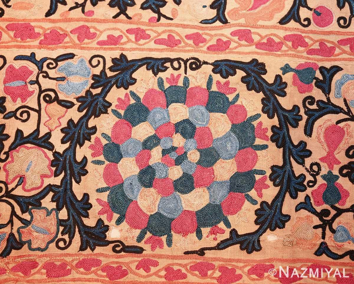antique floral suzani uzbek textile 49460 round Nazmiyal
