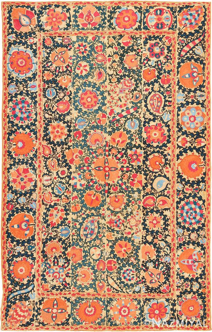 antique floral suzani uzbek textile 49460 Nazmiyal
