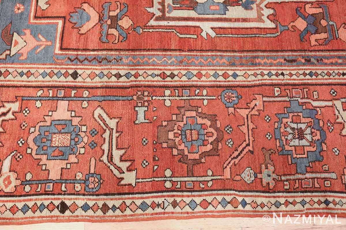 antique red background serapi persian rug 48240 border Nazmiyal