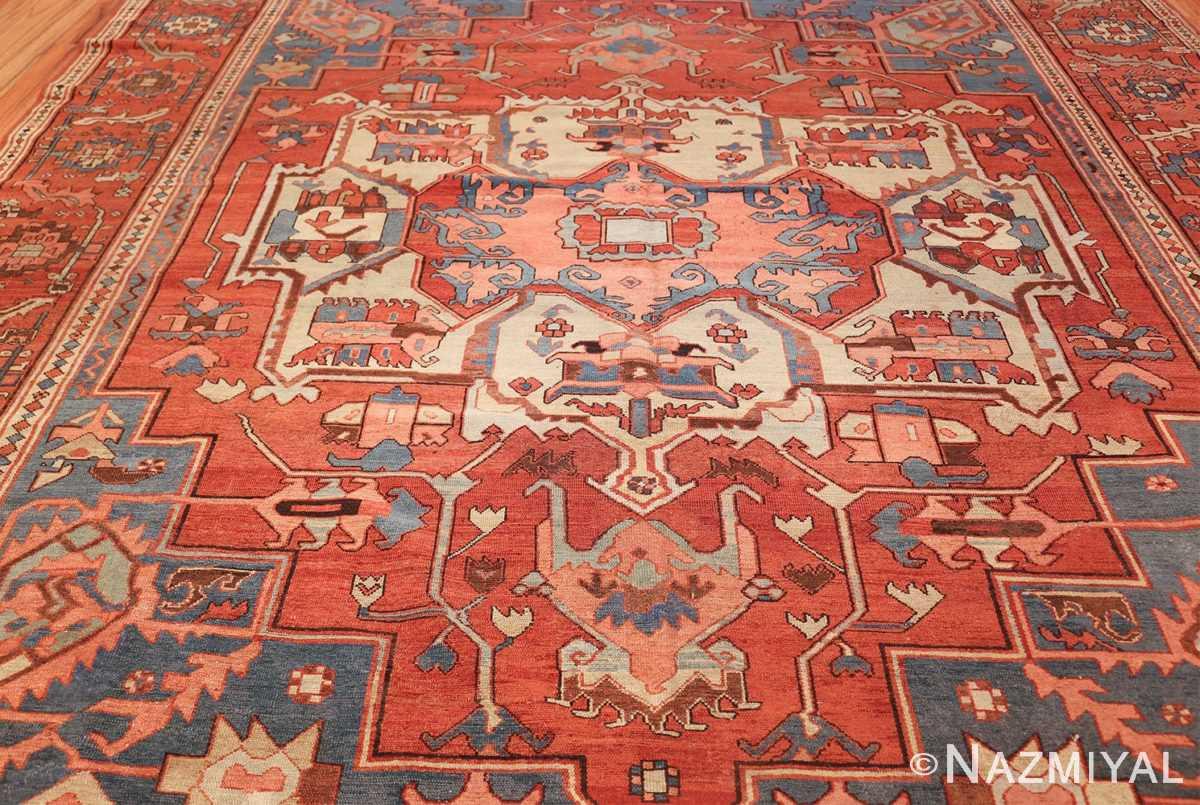 antique red background serapi persian rug 48240 field Nazmiyal