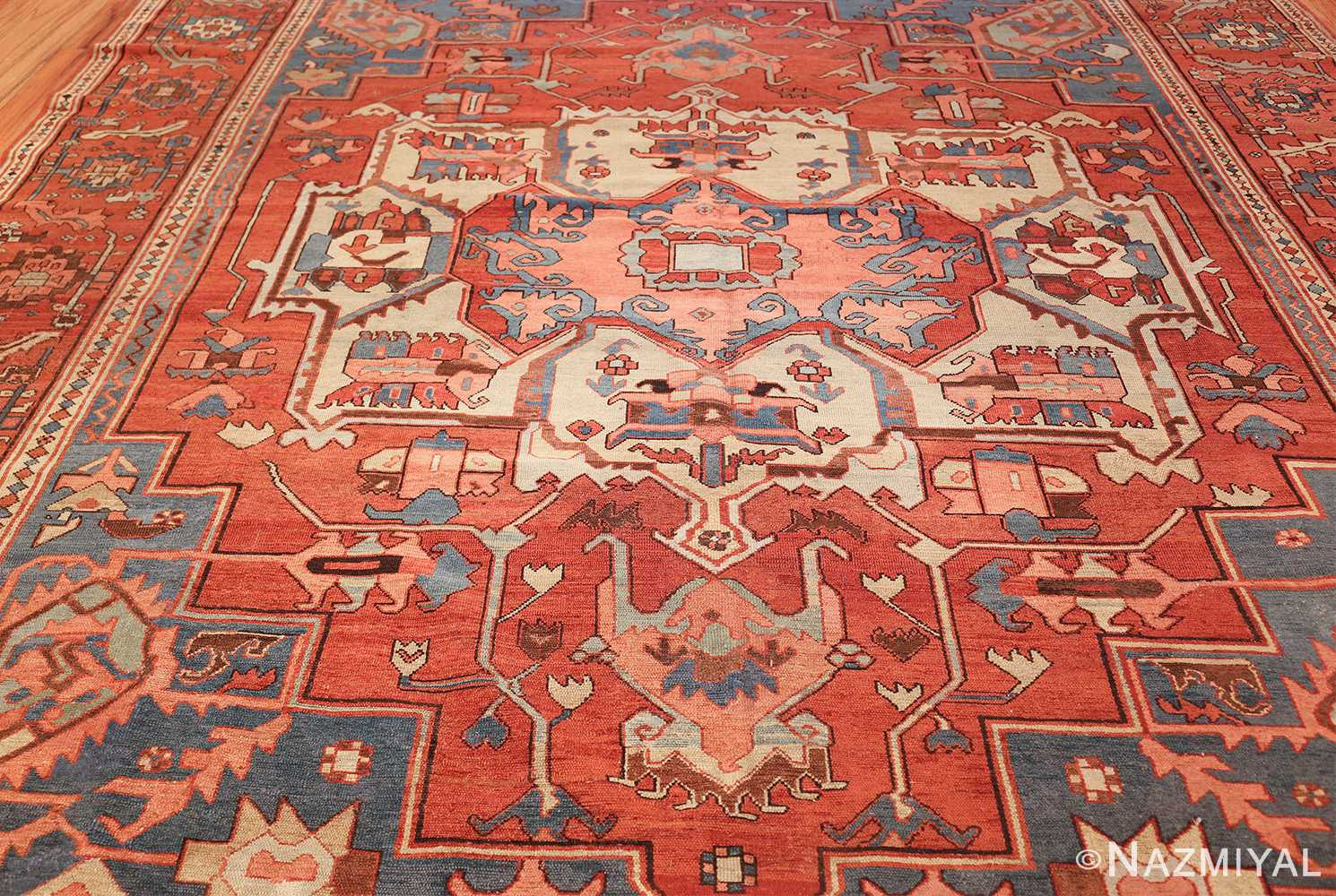 antique red background serapi persian rug 48240 field Nazmiyal