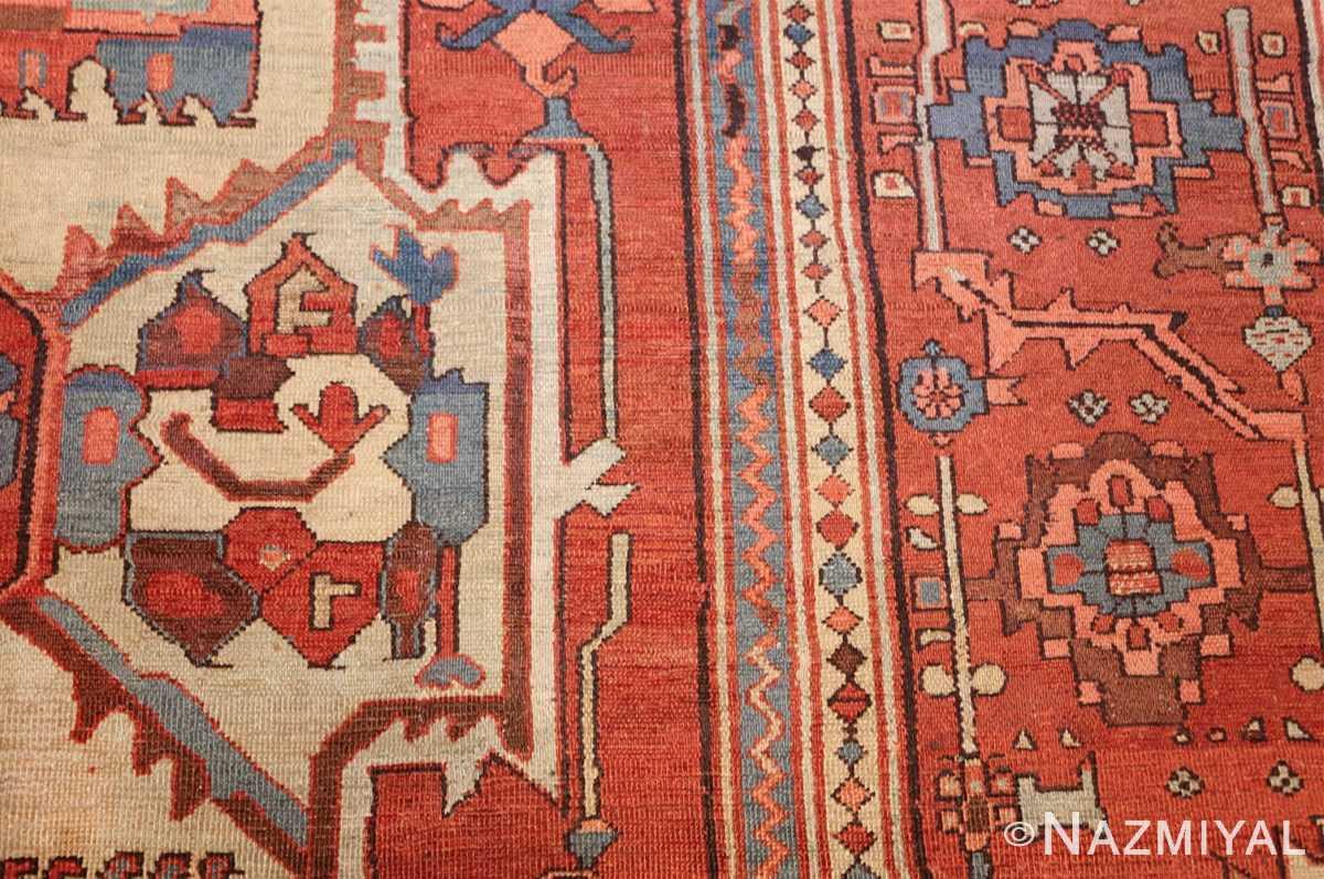 antique red background serapi persian rug 48240 side Nazmiyal