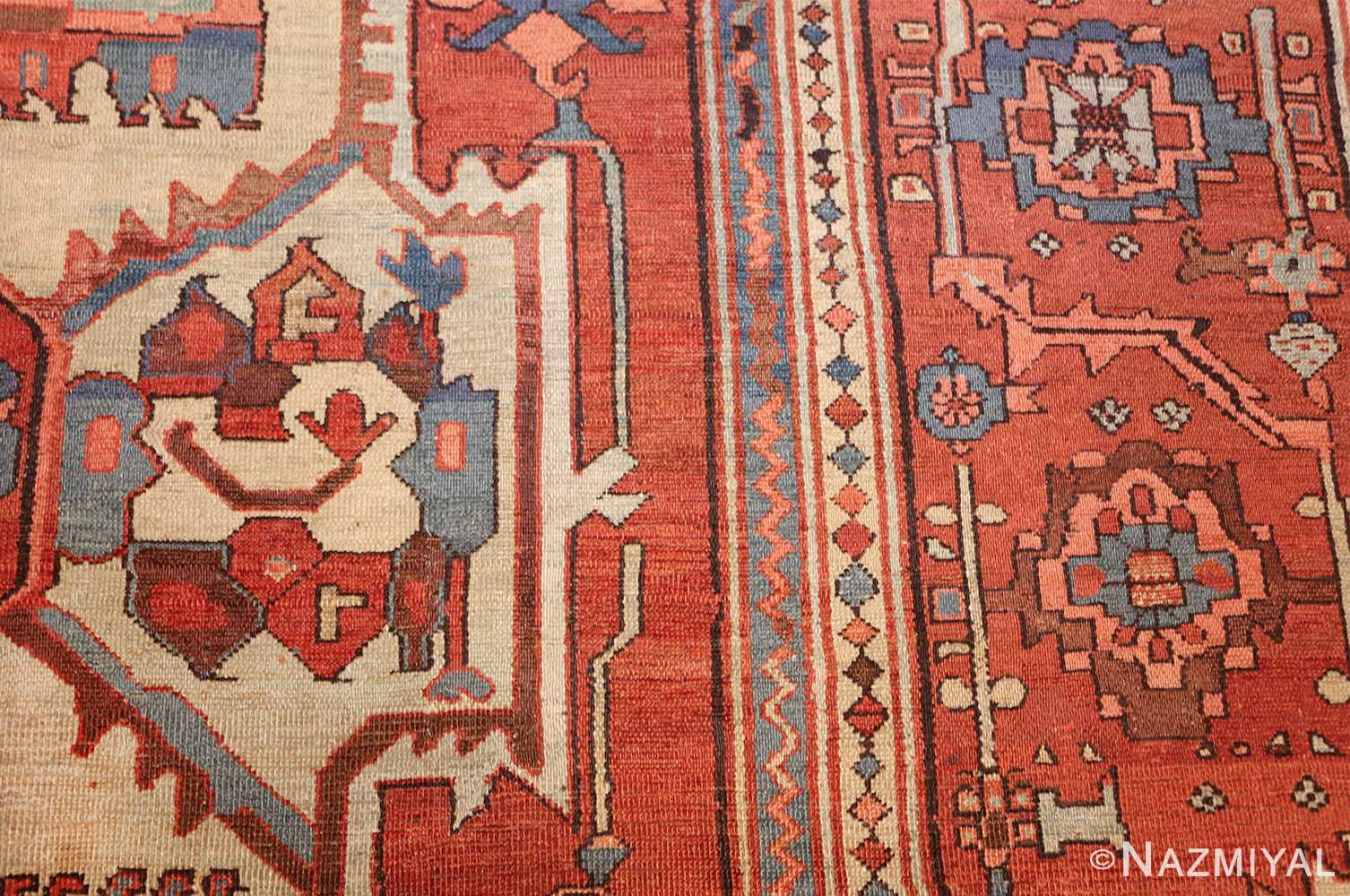 antique red background serapi persian rug 48240 side Nazmiyal