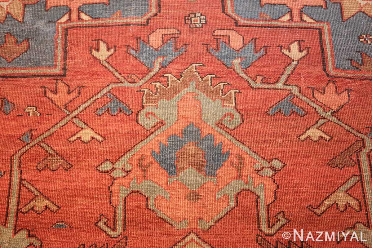 antique red background serapi persian rug 48240 tiara Nazmiyal