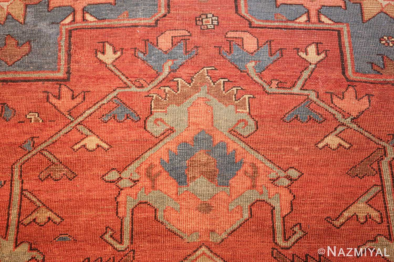 antique red background serapi persian rug 48240 tiara Nazmiyal