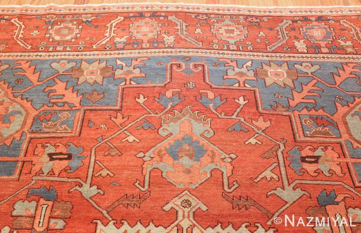 antique red background serapi persian rug 48240 top Nazmiyal