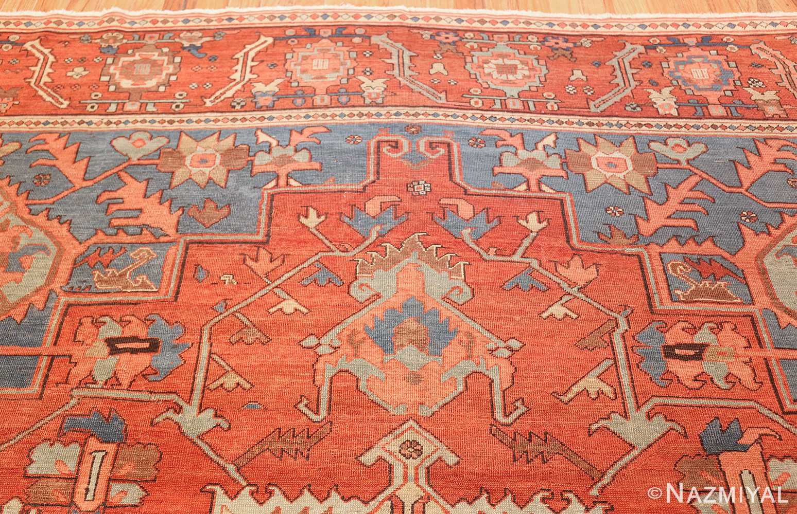 antique red background serapi persian rug 48240 top Nazmiyal