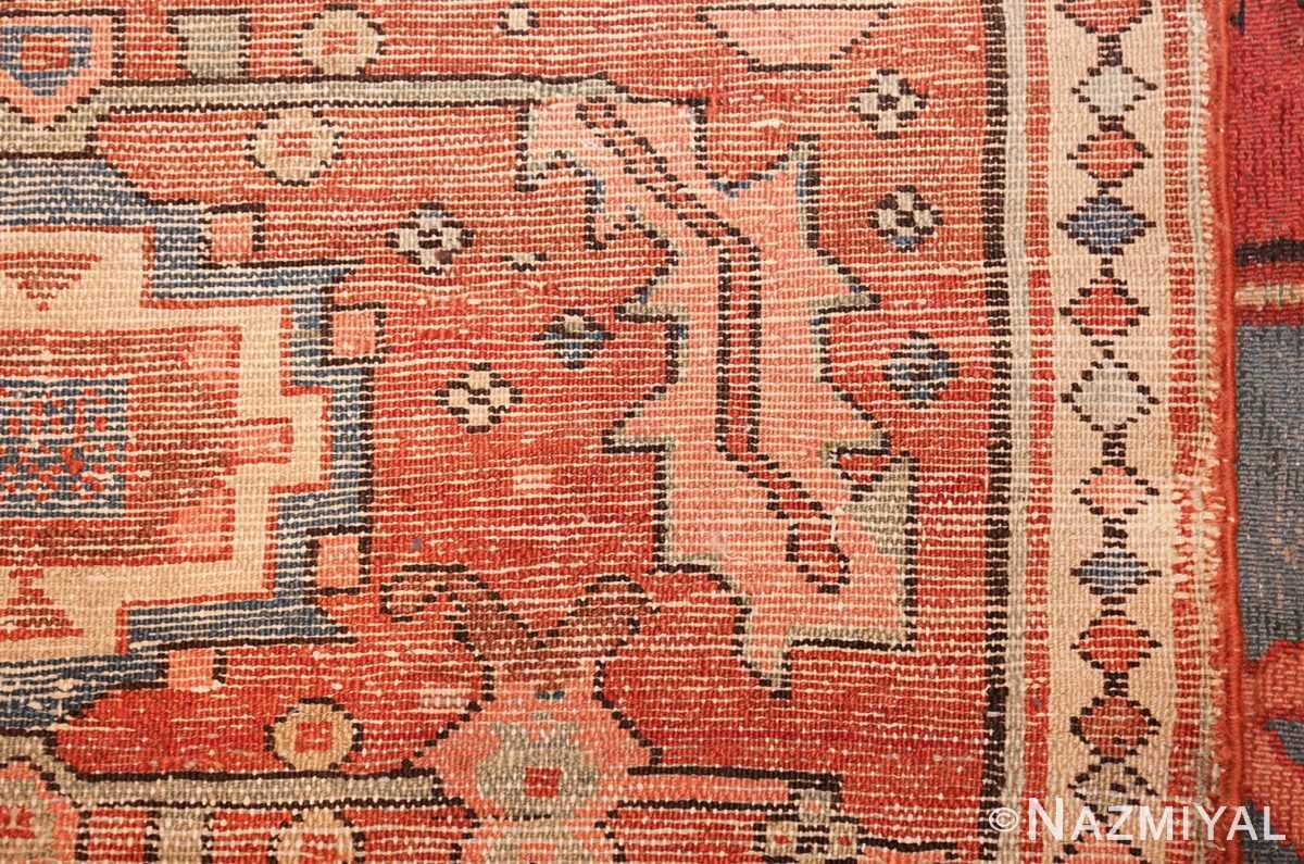 antique red background serapi persian rug 48240 weave Nazmiyal