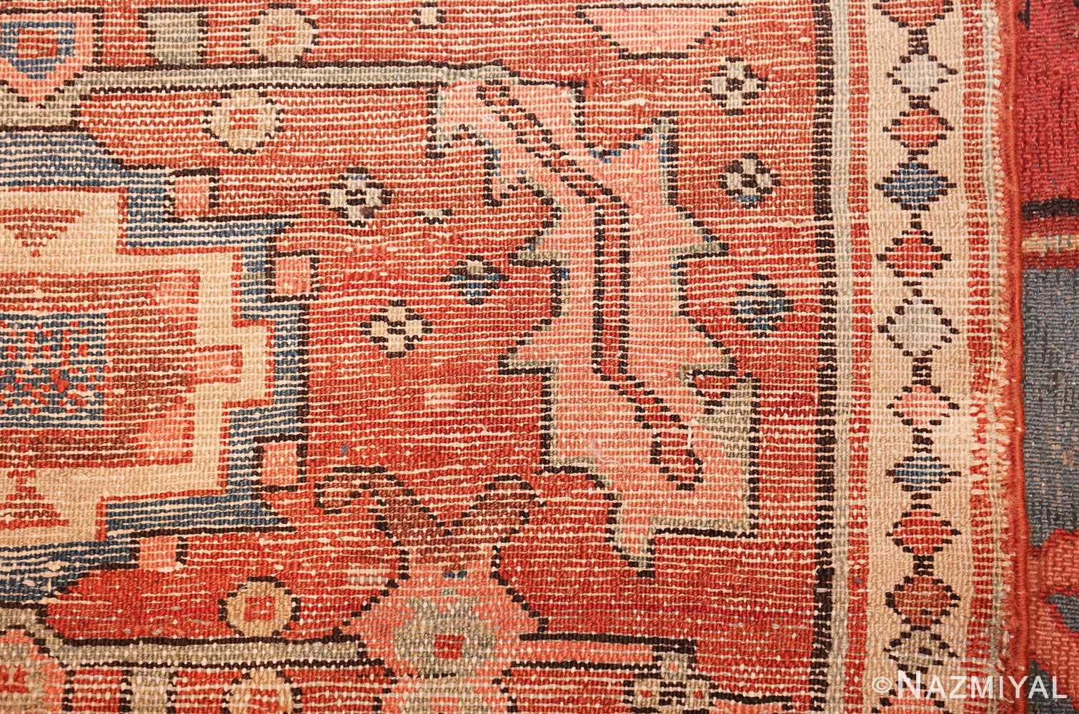 antique red background serapi persian rug 48240 weave Nazmiyal